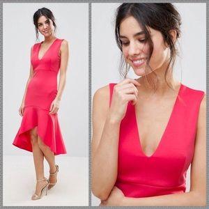 NWT pink scuba midi dress